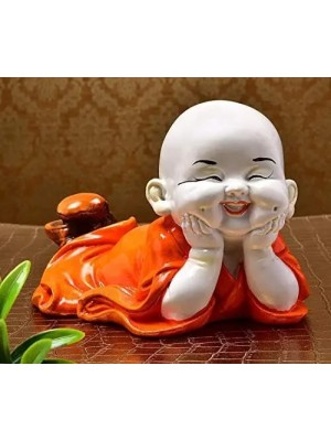 Indian Aura Little Baby Monk Laughing Buddha Statue Idol Showpiece Figurine for Home Office Decor