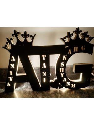 Indian Aura FAMILY COUPLE Wooden LED Customized with Any Alphabet and Name