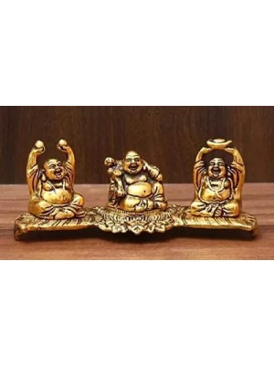Indian Aura Gold Plated Laughing Buddha Decorative Piece for car interior dashboard table desk display (8 Inches)