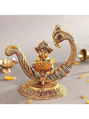 Indian Aura Gold Plated Metal Handicraft Lord Ganesha Doing Work on laptop sitting on a peacock