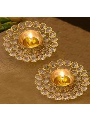 Indian Aura Brass Crystal Akhand Diya Jyoti Oil Lamp for Home Temple Puja Diwali Pooja Aarti in Homes Offices Decor Gifts