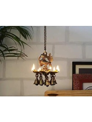 Indian Aura Brass Peacock Design Hanging Diya / Lamps with Bells and Chain for Temple | Home & Office Decor Item