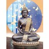Indian Aura Meditating Sitting Blessing Samadhi Buddha Statue Sculpture Decorative Showpieces for House Office Table Garden Decor