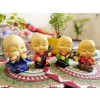 Indian Aura Set of 4 Polyresin Cute Buddha Monks Playing Musical Instruments Showpieces