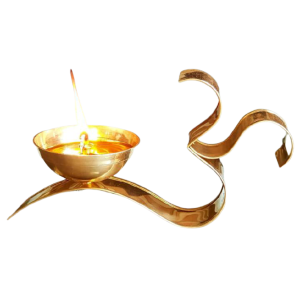 Indian Aura Brass Om Diya Oil Puja Lamp Decorative for Home Office Gifts/Articles Decor for Pooja/Mandir Size 5.5 Inches