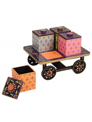 Indian Aura Beautifully Designed Wooden Serving Trolley Cart Dry Fruit Cart With 4 Boxes