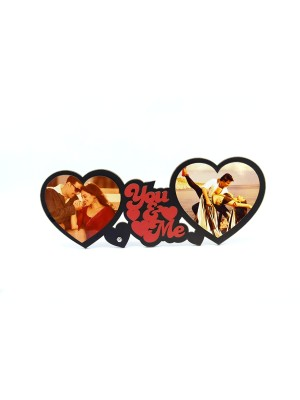 Indian Aura Wooden You & Me Couple Heart Shape frame with Customized name