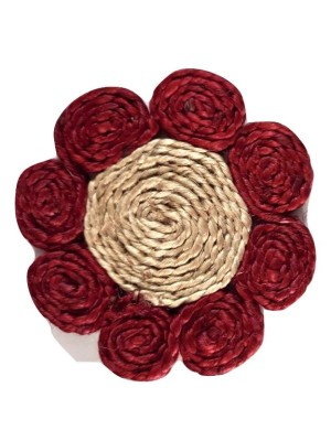 Indian Aura Handmade Jute Table Coasters beige and red(Set of 6)