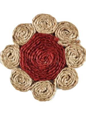 Indian Aura handmade Jute Table Coasters Red(Set of 6)