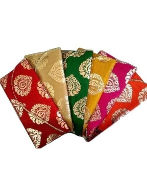 Indian Aura Fabric Brocade Paan Design Money Gift Envelopes for Wedding/Marriage/Bday Multicolor