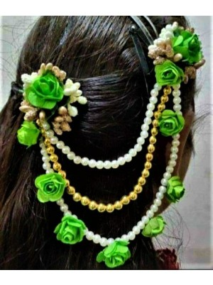 Indian Aura Flower jewelry green hair clip