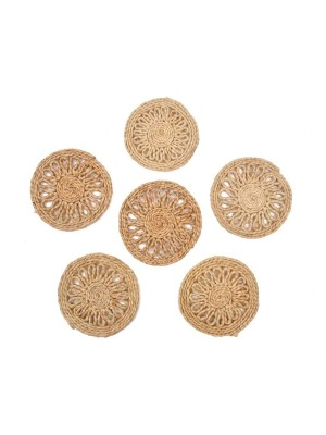 Indian Aura Handmade Jute Table Coasters (Set of 6)