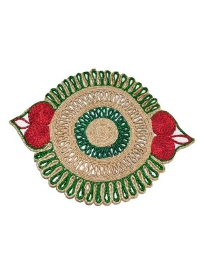 Indian Aura Handmade Jute Table Mat red green