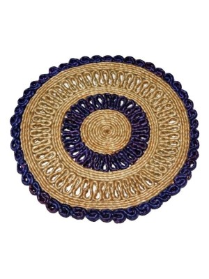Indian Aura Handmade Jute Table Mat round blue