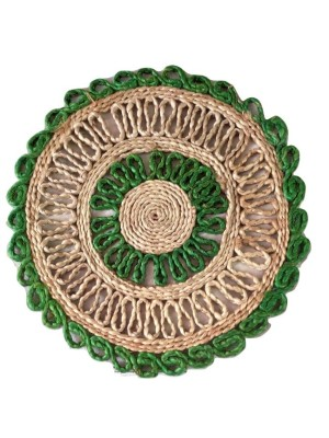 Indian Aura Handmade Jute Table Mat round green