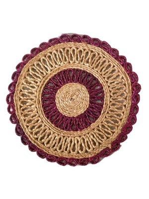 Indian Aura Handmade Jute Table Mat round maroon