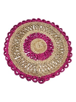 Indian Aura Handmade Jute Table Mat round pink