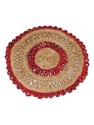 Indian Aura Handmade Jute Table Mat round red