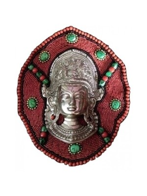 Indian Aura Designer Metal Goddess Durga Beaded Frame Wall Hanging