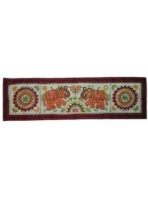 Rectangular Orange Elephant Kantha Wall Hanging