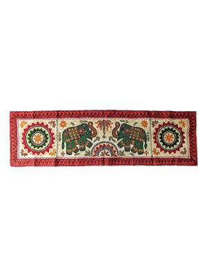 Indian Aura rectangular Red green Elephant Kantha Wall Hanging