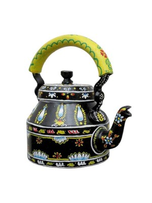 Indian Aura traditional Handpainted black floral Tea Kettle Set with glass stand