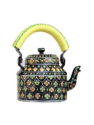 Indian Aura Traditional Handpainted floral black yellow Tea Kettle Set with glass stand