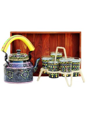 Indian Aura Traditional Handpainted flower pattern black yellow Tea Kettle Set with glass stand