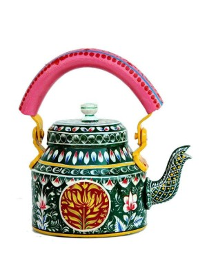 Indian Aura Traditional Handpainted flower pattern dark green Tea Kettle Set with glass stand