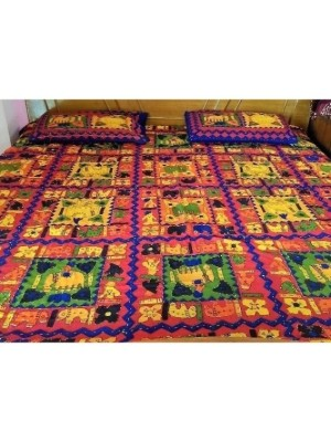 Kantha Vibrant Multi-color Bedsheet