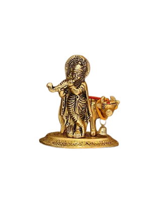 Indian Aura Metal Krishna Ji Playing Flute And Standing with Cow Idol Gold Showpiece