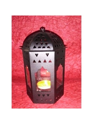 METAL LANTERN TEA LIGHT HOLDER BLACK