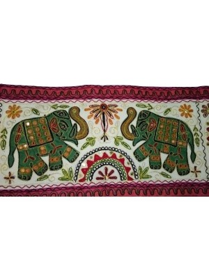 Rectangular Green Elephant Kantha Wall Hanging