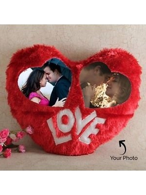 Red Personalized Photo Heart  Cushion