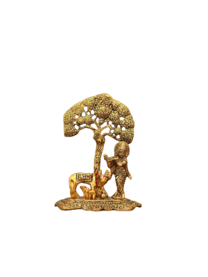 Indian Aura Metal Krishna with Cow Standing Under Tree Plying Flute Decorative Showpiece - 15 cm (Gold , Metal)