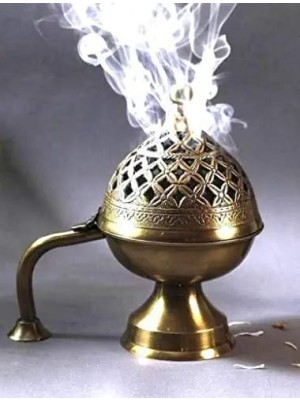 Indian Aura Brass Loban Dhoop Incense Charcol Daan Burner for temple and home Decor