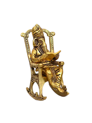 Indian Aura Gold Plated Metal Handicraft Ganesha sitting on rocking chair relaxing