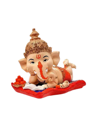 Indian Aura Polyresin Lord Ganesha reading book with mouse and eating ladoo