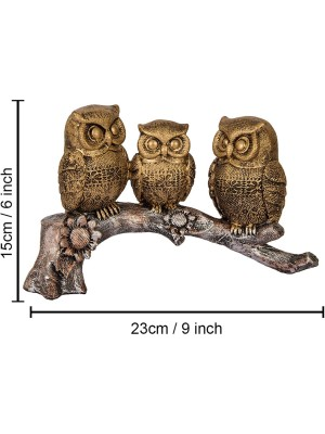 Indian Aura Cute 3 Owls Sitting On Tree Branch Sculpture Resin Craft Cute Decorations - 9 Inch  (Polyresin, Golden)