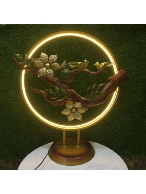 Indian Aura Metal 2 birds Ring T-Top Holder With Led Light