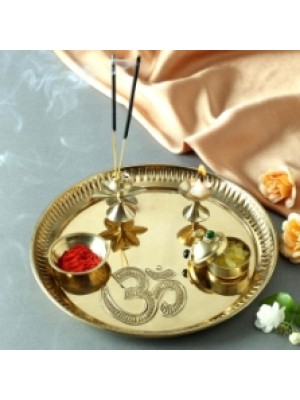 Indian Aura Beautiful Pure Brass Pooja Thali Set with Om Carving