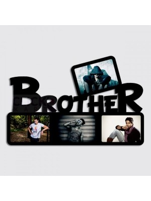 Indian Aura Brother Photo Collage Wooden Frame With Customized Name, Size:12*16 inches