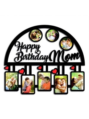 Indian Aura Happy Birthday Wooden Collage Picture Frame With Customized Name, Size:12*16 inches