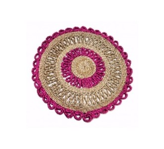 Indian Aura handmade Jute Table Mat Pink and cream color