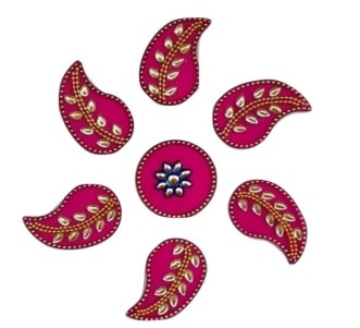 INDIAN AURA PINK LEAF RANGOLI