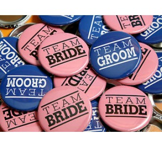 Indian Aura Team bride and team groom badges