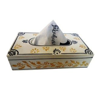 Indian Aura handpainted wooden white and yellow leaves pattern napkin holder