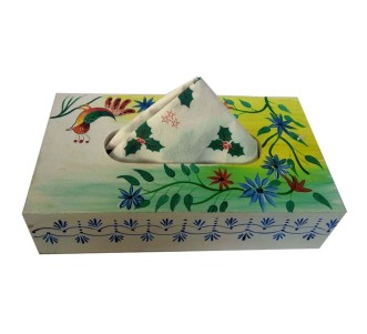 Indian Aura handpainted wooden white colorful leaves pattern napkin holder