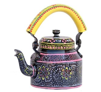 Indian Aura traditional Handpainted black yellow Tea Kettle Set with glass stand