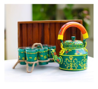 Indian Aura Traditional Handpainted flower pattern bottle green Tea Kettle Set with glass stand